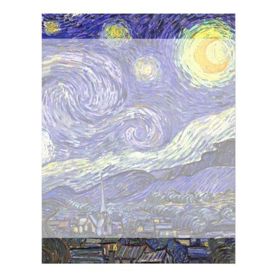 Van Gogh Starry Night, Vintage Fine Art Landscape Letterhead