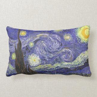 Van Gogh Starry Night, Vintage Fine Art Landscape Lumbar Pillow
