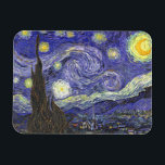 "Van Gogh Starry Night, Vintage Fine Art Landscape Magnet<br><div class=""desc"">Starry Night by Vincent van Gogh is a vintage fine art post impressionism landscape cityscape painting featuring a view of Saint Remy, France from van Gogh&#39;s asylum. The night sky is swirling with clouds with a bright crescent moon and shining stars over the quaint village. Starry Night is probably van...</div>"