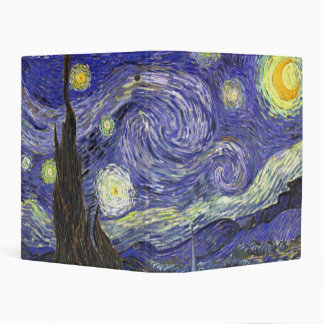Van Gogh Starry Night, Vintage Fine Art Landscape Mini Binder