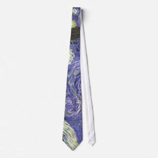 Van Gogh Starry Night, Vintage Fine Art Landscape Neck Tie
