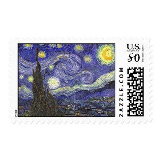 Van Gogh Starry Night, Vintage Fine Art Landscape Postage