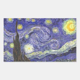 Van Gogh Starry Night, Vintage Fine Art Landscape Rectangular Sticker