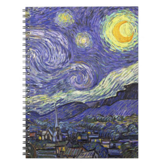 Van Gogh Starry Night, Vintage Fine Art Landscape Spiral Notebook