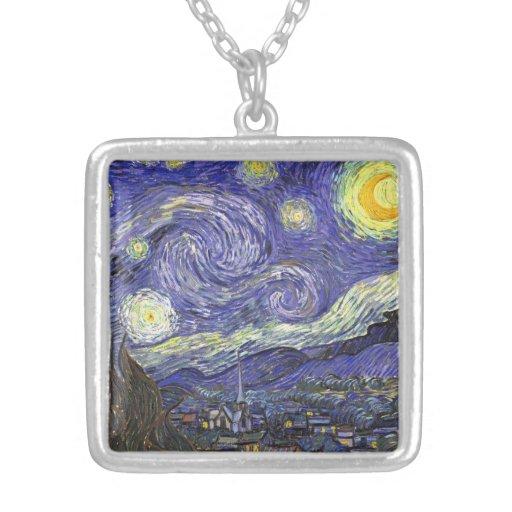 Van Gogh Starry Night, Vintage Fine Art Landscape Square Pendant Necklace