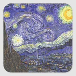 Van Gogh Starry Night, Vintage Fine Art Landscape Square Sticker