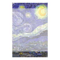 Van Gogh Starry Night, Vintage Fine Art Landscape Stationery