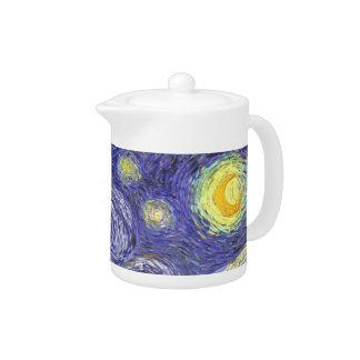 Van Gogh Starry Night, Vintage Fine Art Landscape Teapot