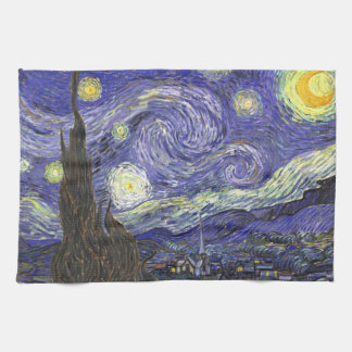 Van Gogh Starry Night, Vintage Fine Art Landscape Towel