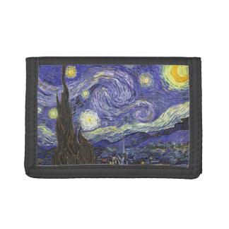 Van Gogh Starry Night, Vintage Fine Art Landscape Tri-fold Wallets