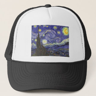 Van Gogh Starry Night, Vintage Fine Art Landscape Trucker Hat