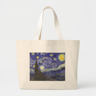 Van Gogh Starry Night, Vintage Landscape Art Jumbo Tote Bag