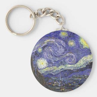 Van Gogh Starry Night, Vintage Landscape Art Basic Round Button Keychain
