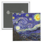 Van Gogh Starry Night, Vintage Landscape Art 2 Inch Square Button