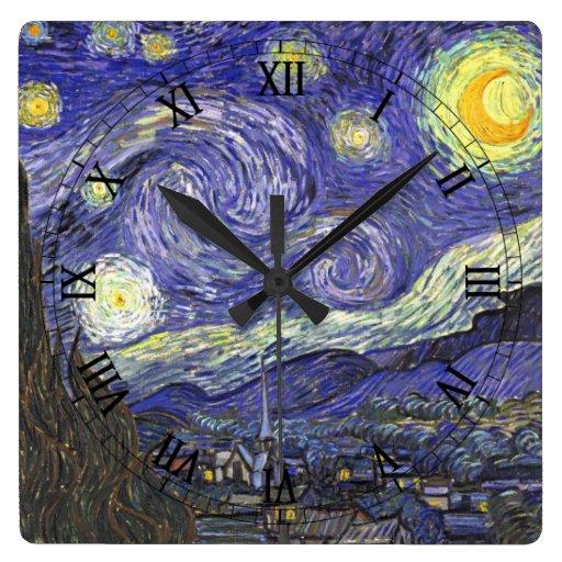 Van Gogh Starry Night, Vintage Landscape Art Square Wall Clock