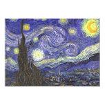 "Van Gogh Starry Night, Vintage Landscape Art 5"" X 7"" Invitation Card"