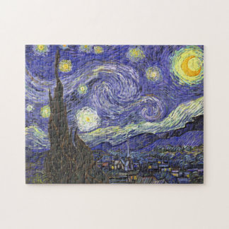 Van Gogh Starry Night, Vintage Landscape Art Jigsaw Puzzles