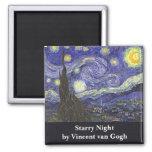 Van Gogh Starry Night, Vintage Landscape Art Magnet