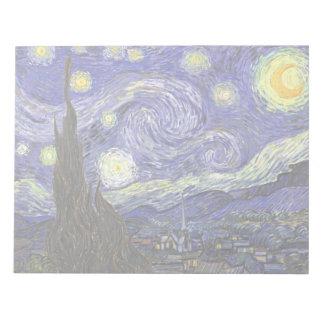 Van Gogh Starry Night, Vintage Landscape Art Memo Note Pads