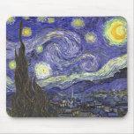 Van Gogh Starry Night, Vintage Landscape Art Mouse Pads