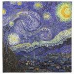 Van Gogh Starry Night, Vintage Landscape Art Printed Napkins