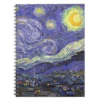 Van Gogh Starry Night, Vintage Landscape Art Spiral Note Book