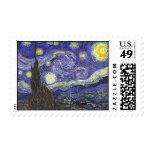 Van Gogh Starry Night, Vintage Landscape Art Postage Stamp