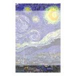 Van Gogh Starry Night, Vintage Landscape Art Custom Stationery