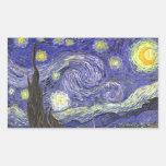 Van Gogh Starry Night, Vintage Landscape Art Rectangular Stickers