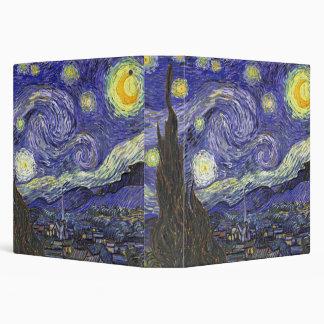Van Gogh Starry Night, Vintage Landscape Art Vinyl Binder