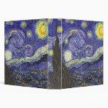 Van Gogh Starry Night, Vintage Post Impressionism 3 Ring Binders