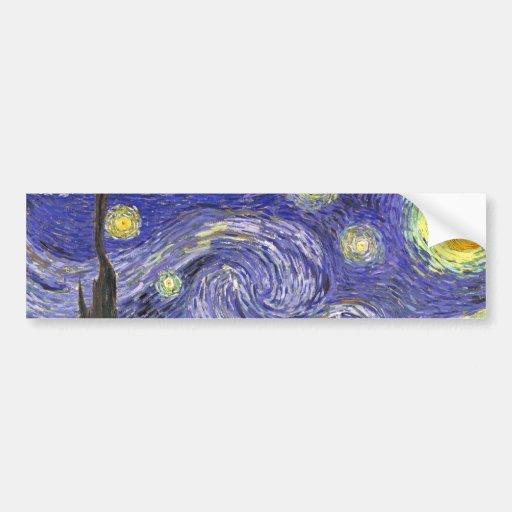 Van Gogh Starry Night, Vintage Post Impressionism Bumper Sticker