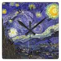 Van Gogh Starry Night, Vintage Post Impressionism Wall Clock