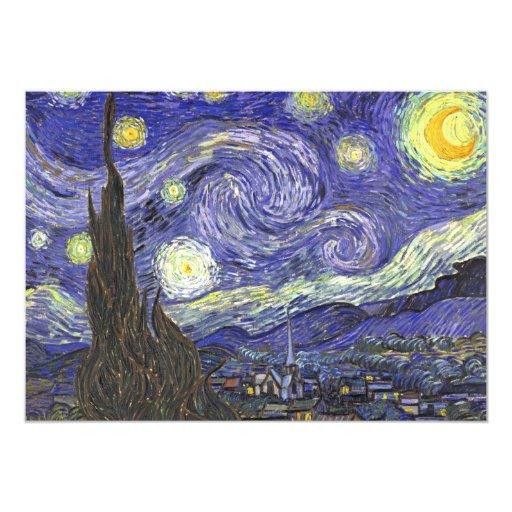 "Van Gogh Starry Night Vintage Wedding Invitation 5"" X 7"" Invitation Card"