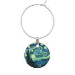 van Gogh Starry Night Wine Charm