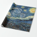 """Van Gogh Starry Night Wrapping Paper<br><div class=""""desc"""">Vincent Van Gogh Starry night vintage artwork  .. designer gift wrap / wrapping paper roll from Zazilicious</div>"""