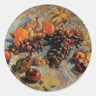 Van Gogh; Still Life Apples, Pears, Lemons, Grapes Round Sticker