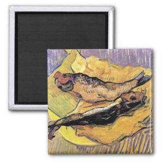 Van Gogh - Still Life Bloaters On Yellow Paper 2 Inch Square Magnet