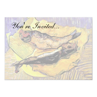 "Van Gogh - Still Life Bloaters On Yellow Paper 5"" X 7"" Invitation Card"