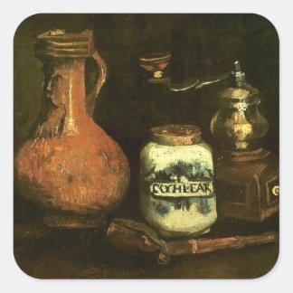 Van Gogh Still Life: Coffee Mill, Pipe Case Jug Square Sticker
