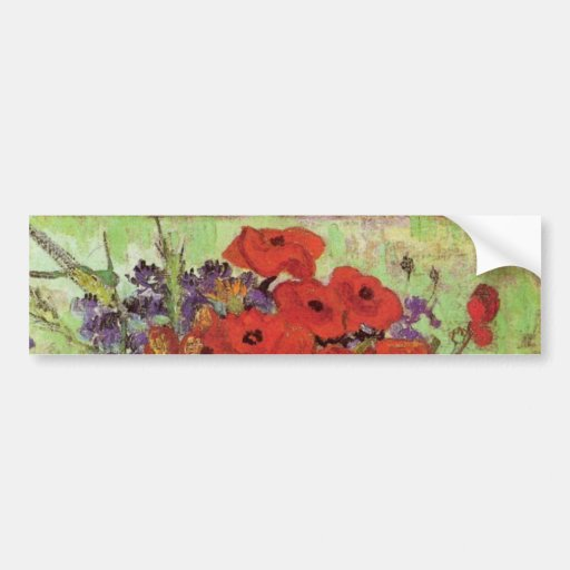 Van Gogh Still Life Flower Red Poppies and Daisies Bumper Stickers