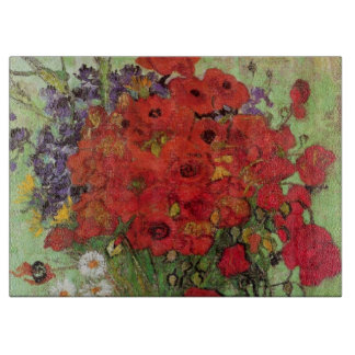 Van Gogh Still Life Flower Red Poppies and Daisies Cutting Board