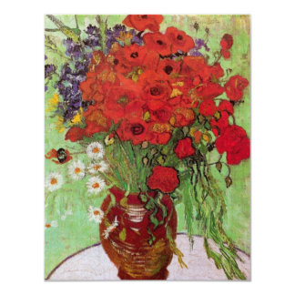 Van Gogh Still Life Flower Red Poppies and Daisies 4.25x5.5 Paper Invitation Card