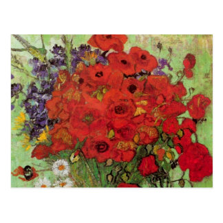 Van Gogh Still Life Flower Red Poppies and Daisies Postcard