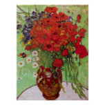 Van Gogh Still Life Flower Red Poppies and Daisies Poster