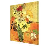Van Gogh; Still Life Japanese Vase Roses Anemones Stretched Canvas Print