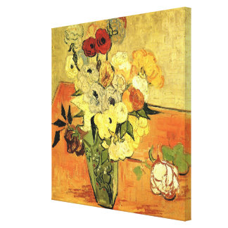 Van Gogh; Still Life Japanese Vase Roses Anemones Stretched Canvas Print