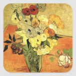 Van Gogh; Still Life Japanese Vase Roses Anemones Stickers