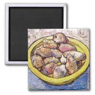 Van Gogh - Still Life Potatoes In A Yellow Dish 2 Inch Square Magnet