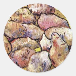 Van Gogh - Still Life Potatoes In A Yellow Dish Classic Round Sticker